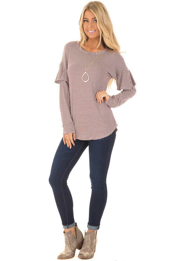 Burgundy and White Stripe Long Sleeve Top with Ruffle Detail front full body