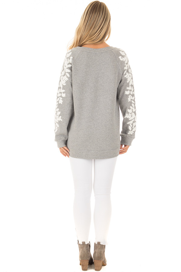 Heather Grey Sweater with White Textured Sleeve Design back full body