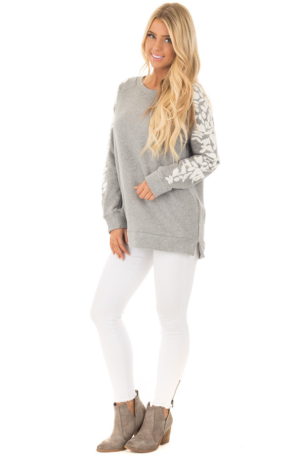 Heather Grey Sweater with White Textured Sleeve Design front full body