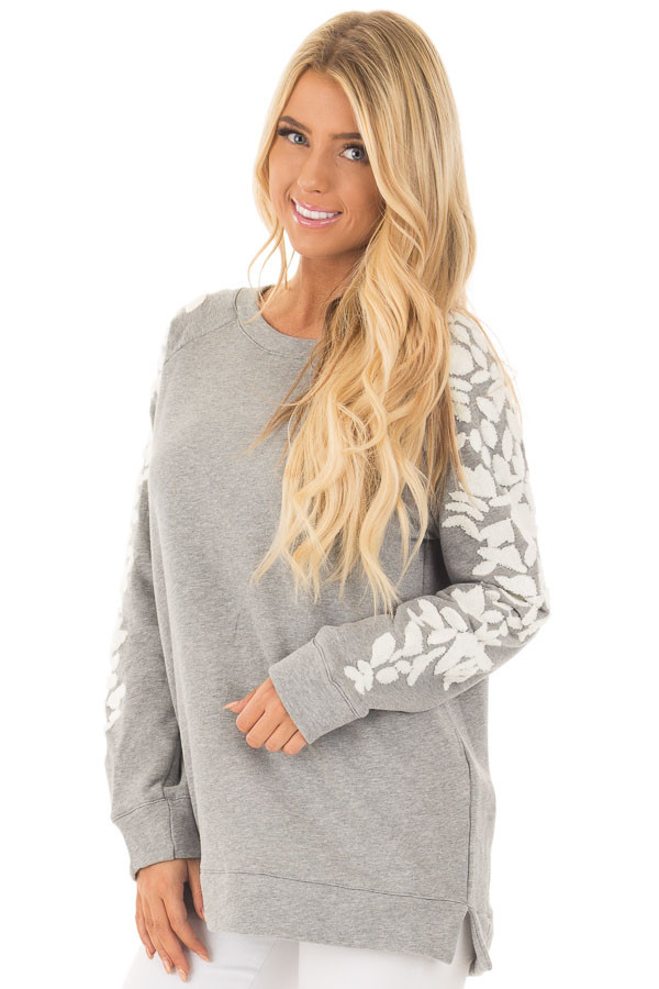 Heather Grey Sweater with White Textured Sleeve Design front closeup