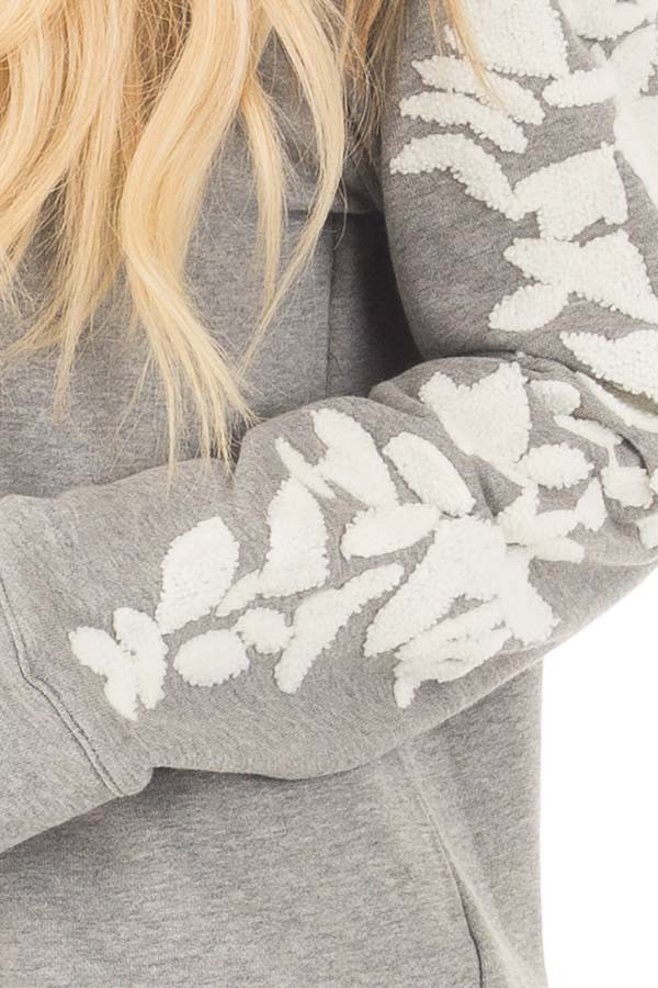 Heather Grey Sweater with White Textured Sleeve Design front detail