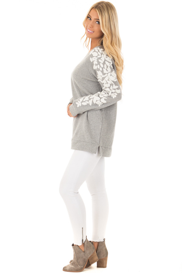Heather Grey Sweater with White Textured Sleeve Design side full body
