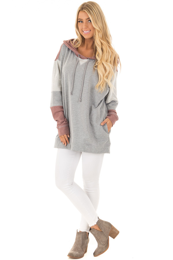 Heather Grey Hoodie with Mauve Waffle Knit Contrast front full body