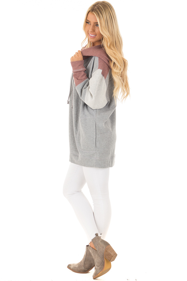 Heather Grey Hoodie with Mauve Waffle Knit Contrast side full body