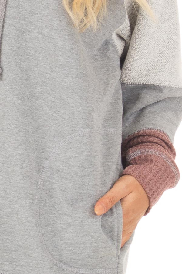 Heather Grey Hoodie with Mauve Waffle Knit Contrast detail