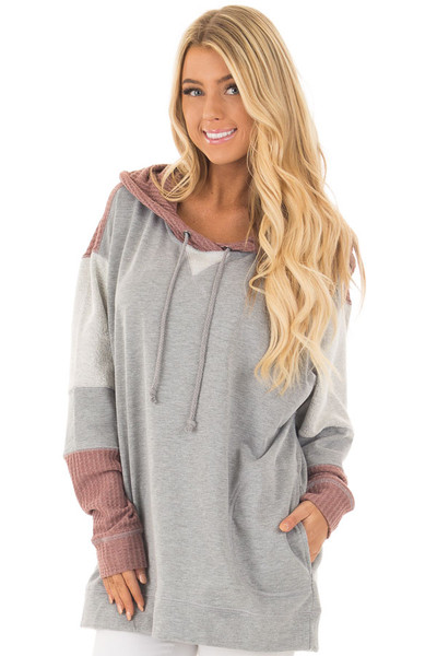 Heather Grey Hoodie with Mauve Waffle Knit Contrast front close up