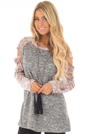 Charcoal Soft Top with Crushed Velvet Ladder Cut Sleeves front close up