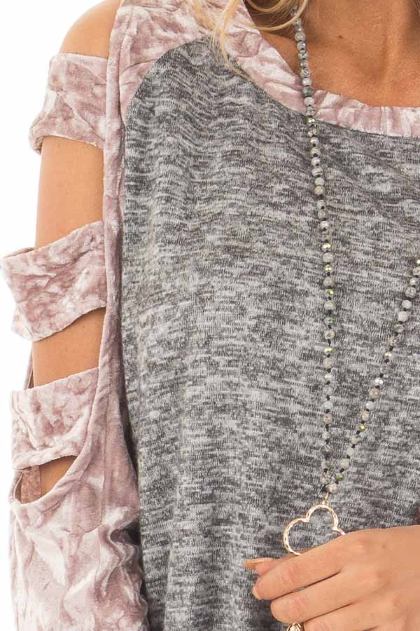Charcoal Soft Top with Crushed Velvet Ladder Cut Sleeves detail