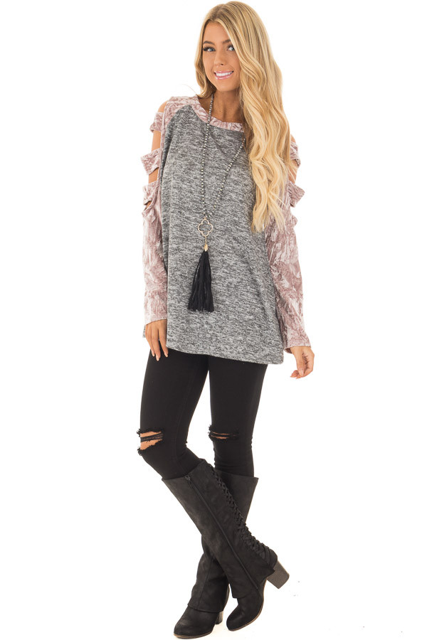Charcoal Soft Top with Crushed Velvet Ladder Cut Sleeves front full body
