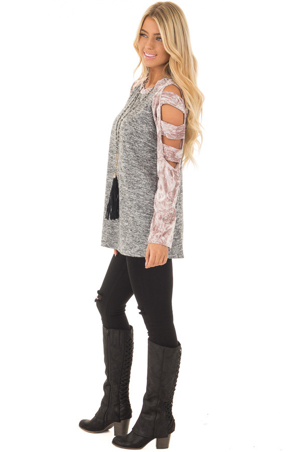 Charcoal Soft Top with Crushed Velvet Ladder Cut Sleeves side full body