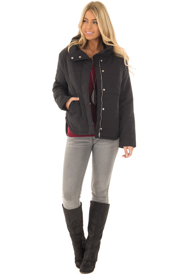 Black Padded Jacket with Rounded Hemline front full body