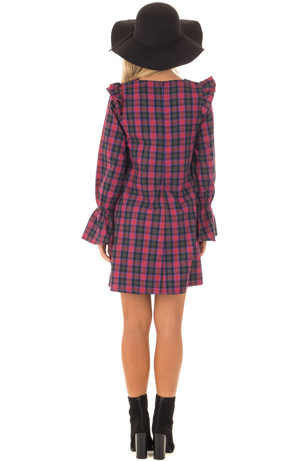 Charcoal and Red Plaid Long Sleeve Dress with Ruffle Details back full body