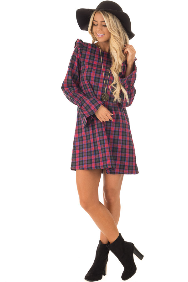 Charcoal and Red Plaid Long Sleeve Dress with Ruffle Details front full body