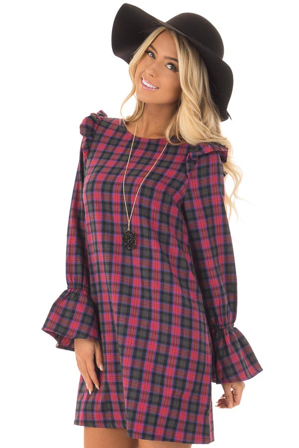 Charcoal and Red Plaid Long Sleeve Dress with Ruffle Details front close up