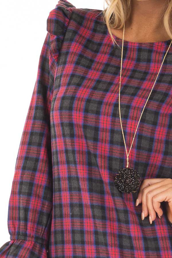 Charcoal and Red Plaid Long Sleeve Dress with Ruffle Details detail