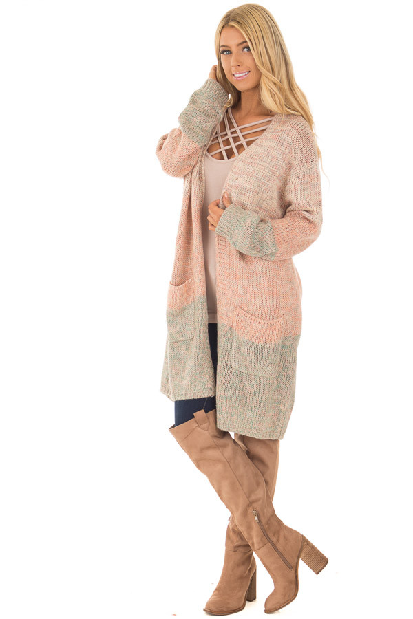 Blush and Dusty Blue Two Toned Long Sleeve Cardigan front full body