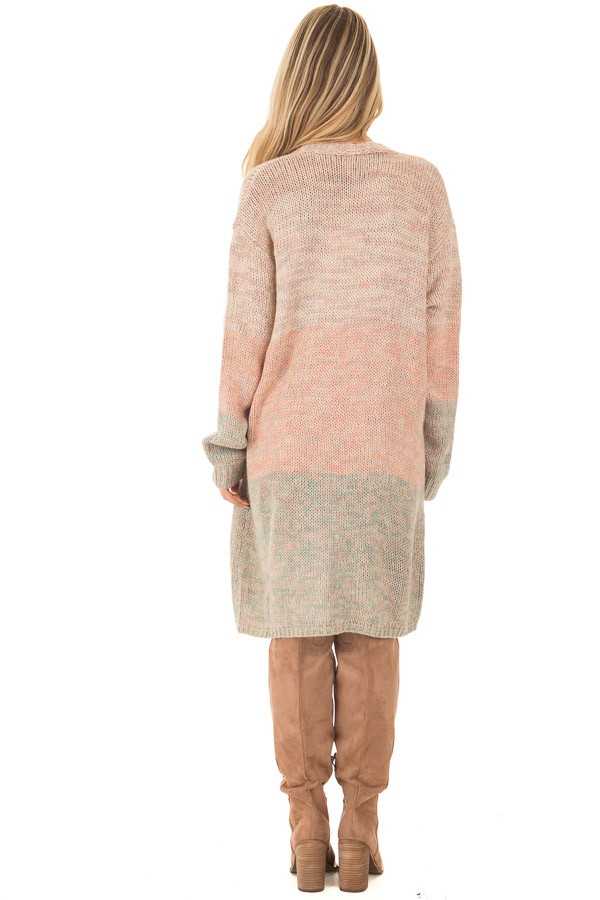 Blush and Dusty Blue Two Toned Long Sleeve Cardigan back full body