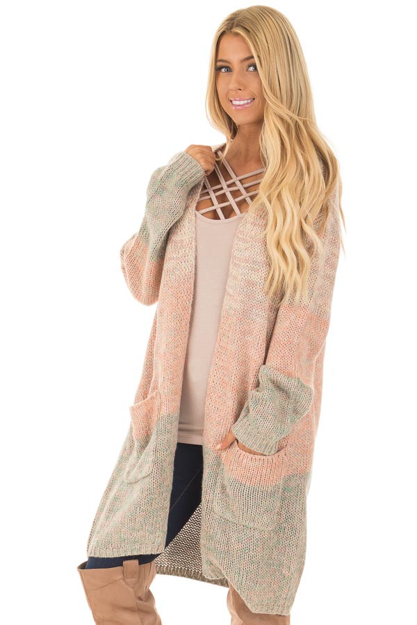 Blush and Dusty Blue Two Toned Long Sleeve Cardigan front close up