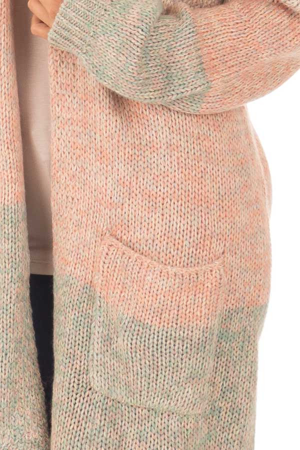 Blush and Dusty Blue Two Toned Long Sleeve Cardigan detail