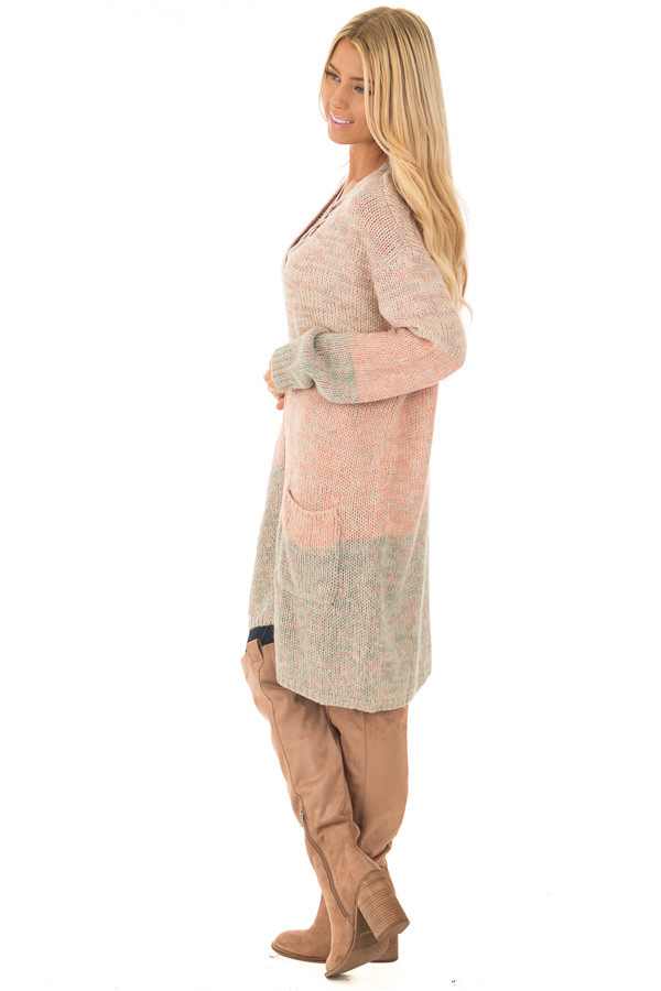 Blush and Dusty Blue Two Toned Long Sleeve Cardigan side full body