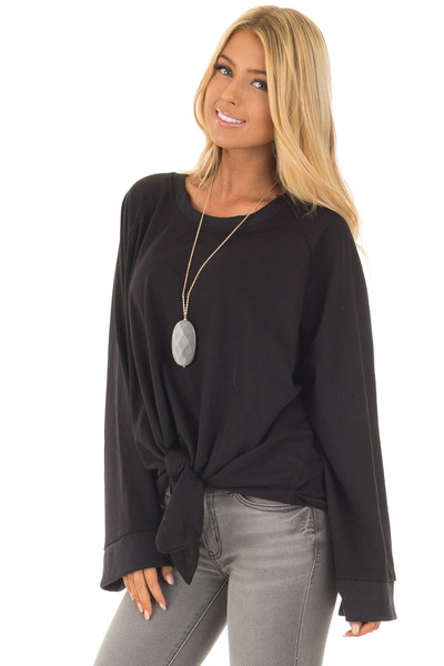 Black Wide Long Sleeve Sweater with Front Tie front close up