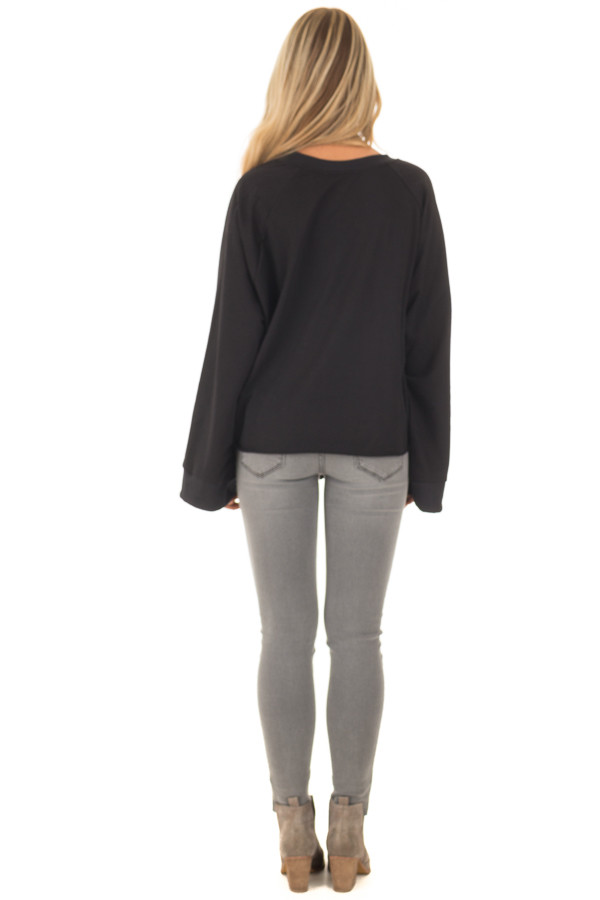 Black Wide Long Sleeve Sweater with Front Tie back full body