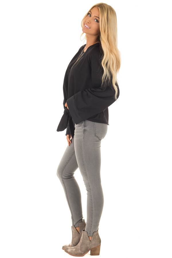 Black Wide Long Sleeve Sweater with Front Tie side full body