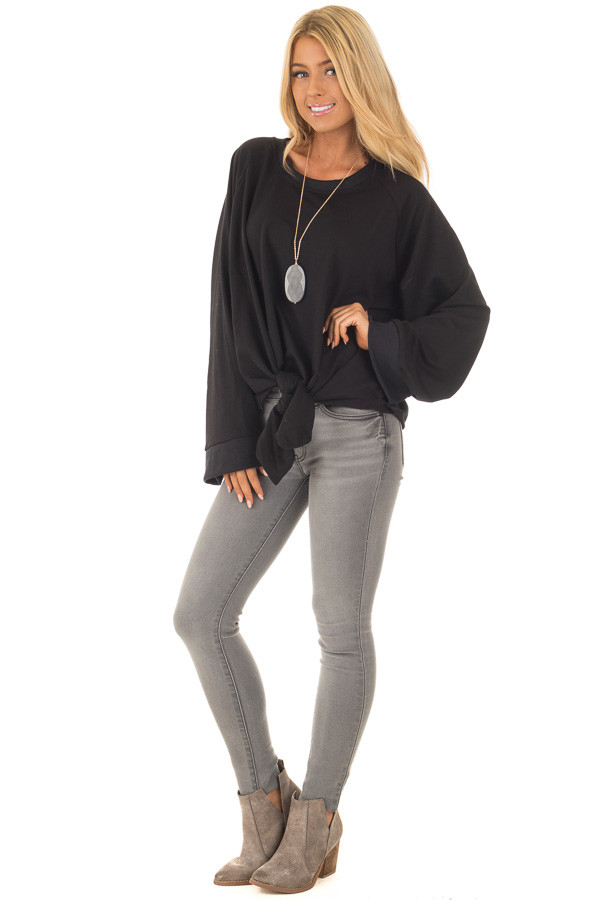 Black Wide Long Sleeve Sweater with Front Tie front full body
