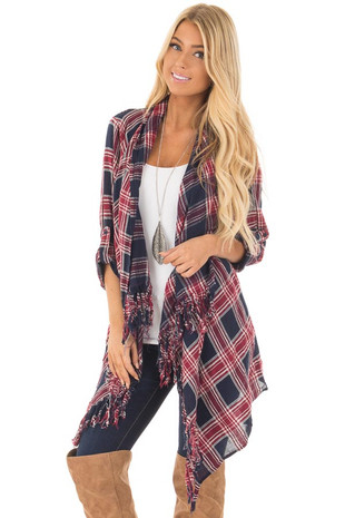 Navy and Wine Plaid Open Cardigan with Fringe Trim front close up