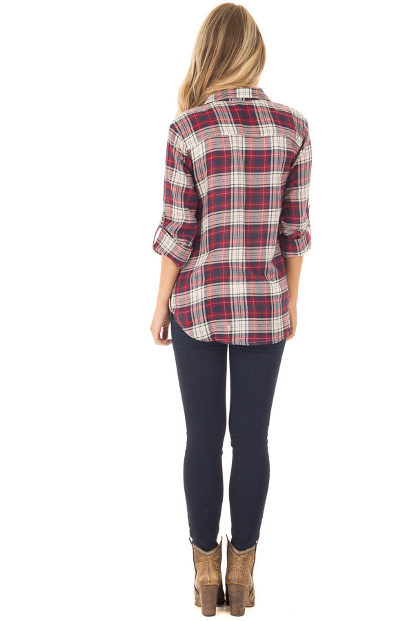 Burgundy Plaid Button Up Long Sleeve Top with Breast pockets back full body