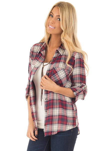 Burgundy Plaid Button Up Long Sleeve Top with Breast pockets front close up