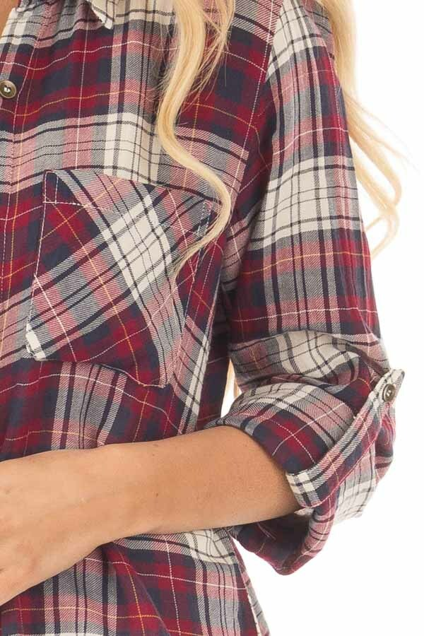 Burgundy Plaid Button Up Long Sleeve Top with Breast pockets detail