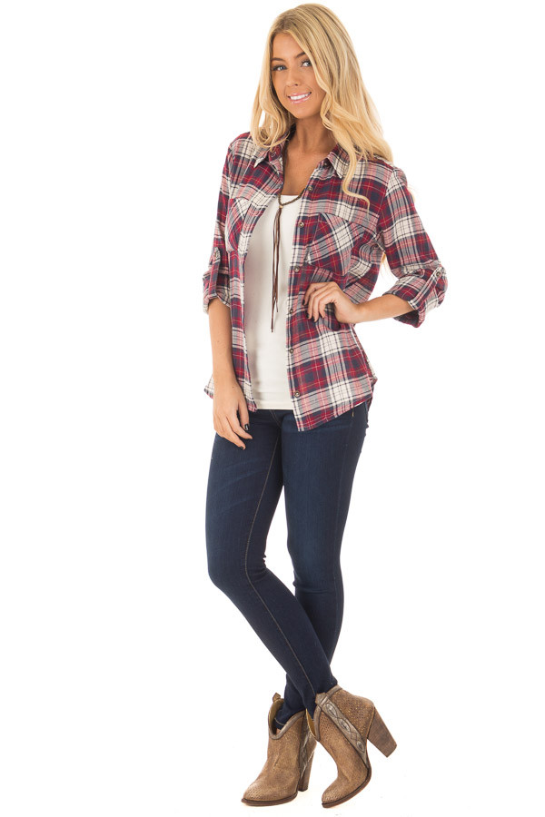 Burgundy Plaid Button Up Long Sleeve Top with Breast pockets front full body