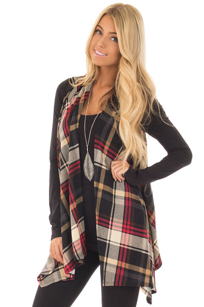 Black and Red Plaid Open Drape Soft Lightweight Knit Vest front close up