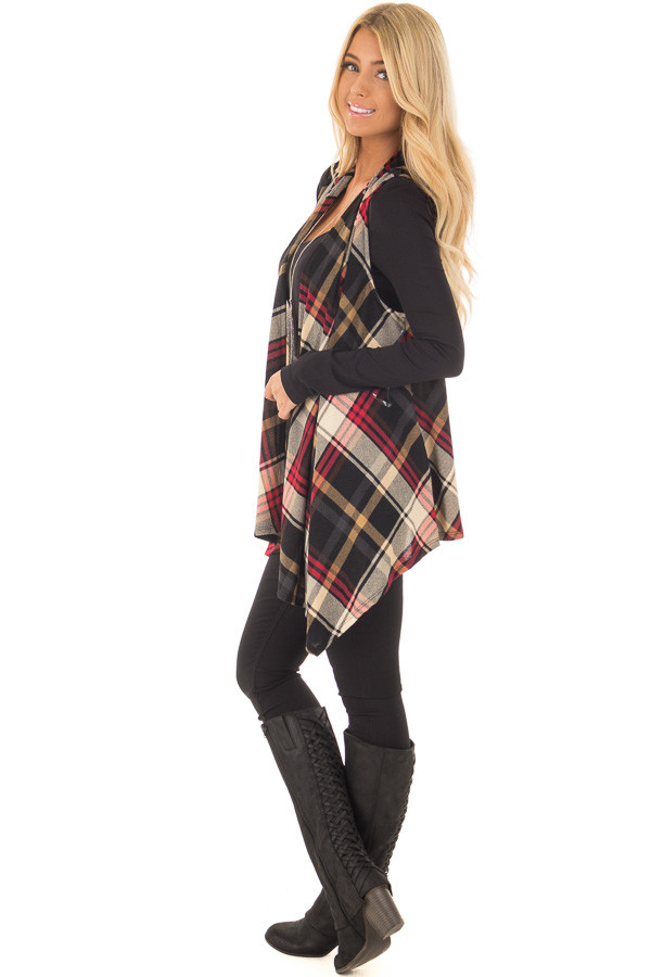 Black and Red Plaid Open Drape Soft Lightweight Knit Vest side full body