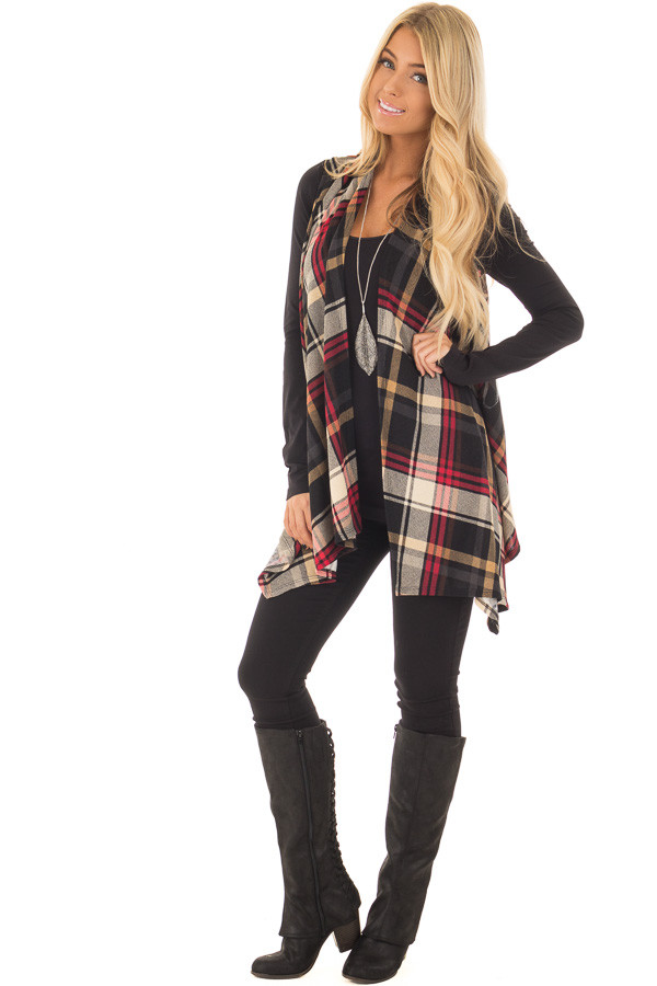 Black and Red Plaid Open Drape Soft Lightweight Knit Vest front full body