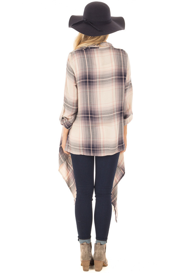 Dusty Pink Plaid Long Sleeve Cardigan with Fringe Details back full body