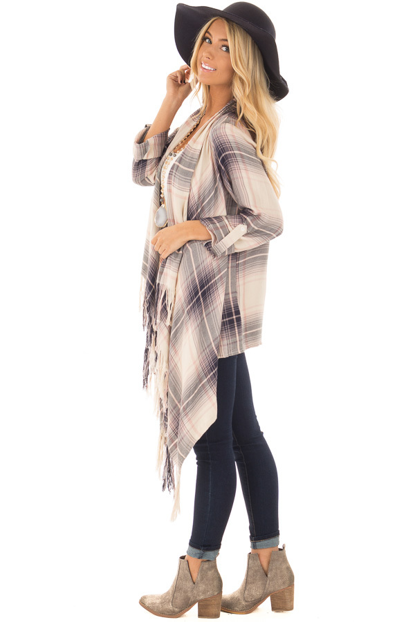 Dusty Pink Plaid Long Sleeve Cardigan with Fringe Details side full body
