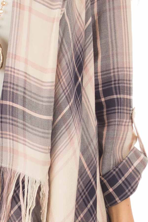 Dusty Pink Plaid Long Sleeve Cardigan with Fringe Details detail