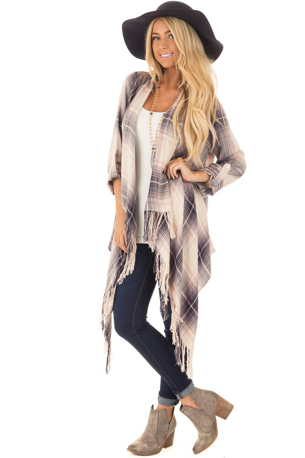 Dusty Pink Plaid Long Sleeve Cardigan with Fringe Details front full body