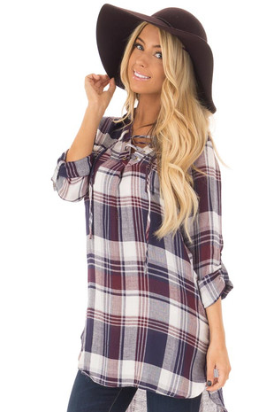 Navy and Burgundy Plaid Lace Up Dress with Breast Pockets front close up