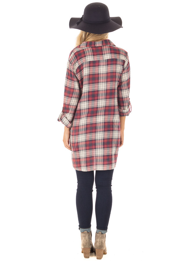 Burgundy and Cream Plaid Long Sleeve Dress back full body