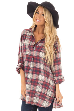 Burgundy and Cream Plaid Long Sleeve Dress front close up