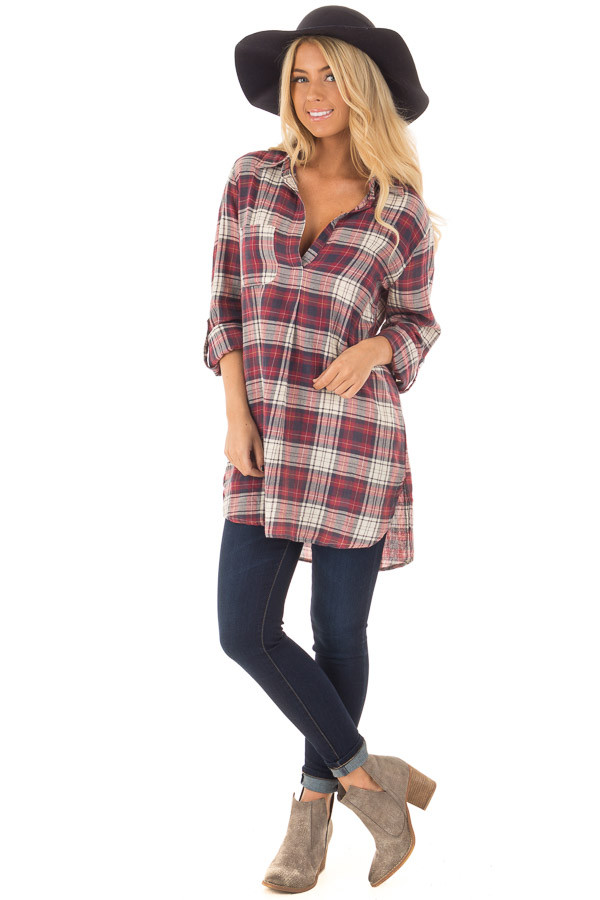 Burgundy and Cream Plaid Long Sleeve Dress front full body