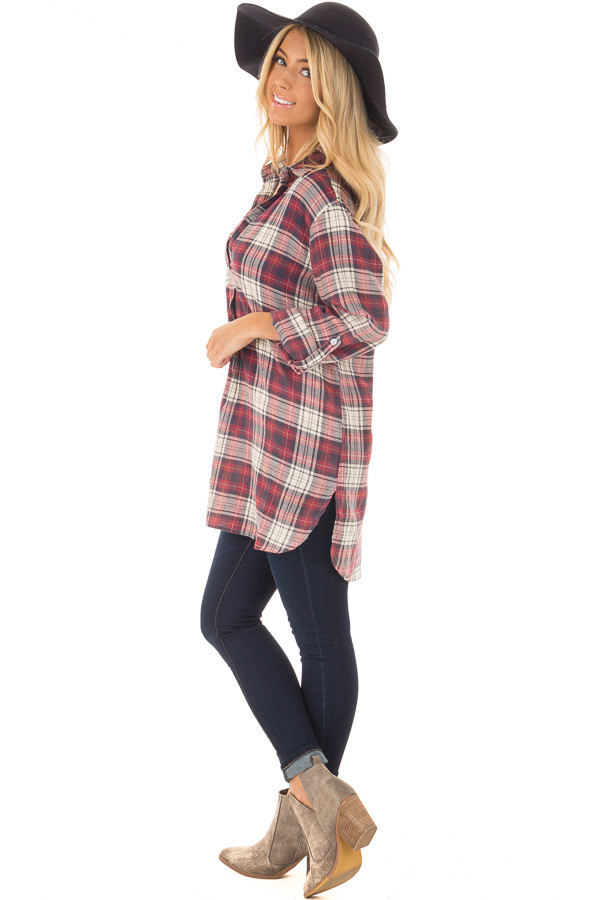 Burgundy and Cream Plaid Long Sleeve Dress side full body