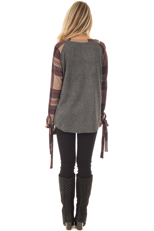 Charcoal Soft Knit Top with Plaid Raglan Tie Sleeves back full body