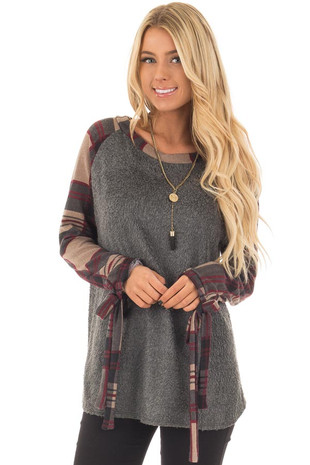 Charcoal Soft Knit Top with Plaid Raglan Tie Sleeves front close up