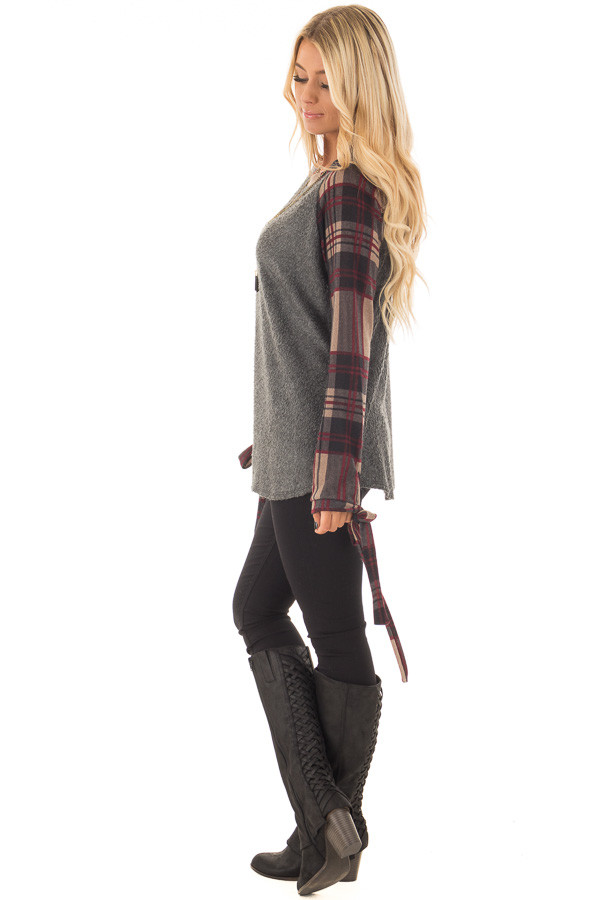 Charcoal Soft Knit Top with Plaid Raglan Tie Sleeves side full body