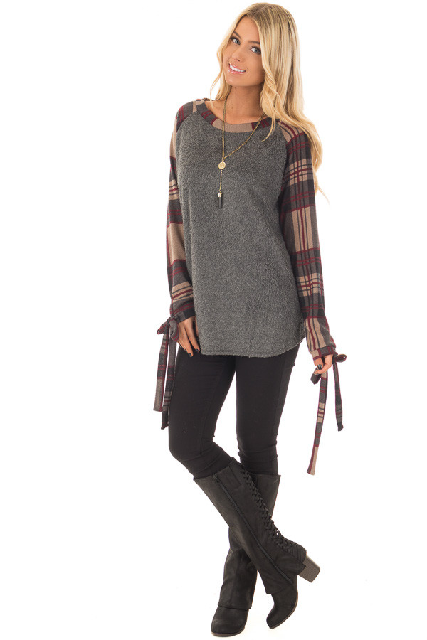 Charcoal Soft Knit Top with Plaid Raglan Tie Sleeves front full body
