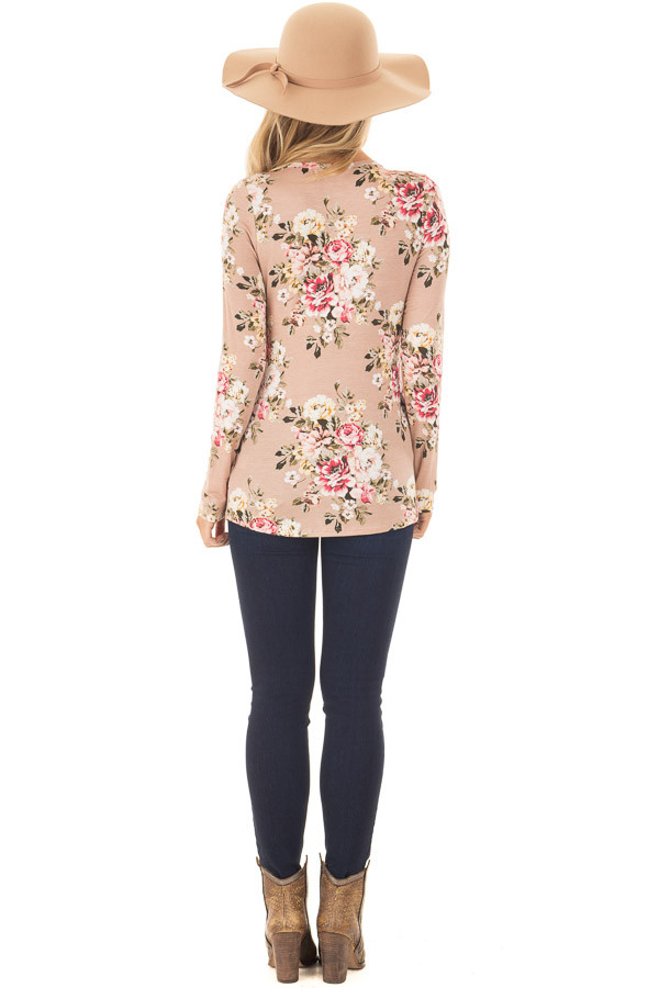 Dusty Pink Floral Top with Rose Gold Sequin Pocket back full body